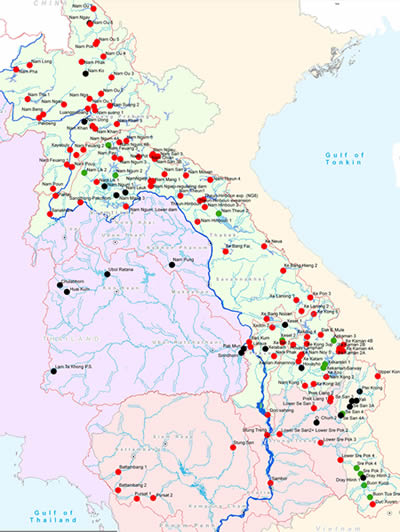 Mekong dam map