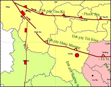 Bản đồ tâm chấn trận động đất chiều 4/3 (Ảnh: Trung tâm báo tin động đất và cảnh báo sóng thần)