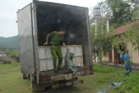 Lực lượng liên ngành 127/ĐP tỉnh Cao Bằng xử lý một lô cá tầm nhập lậu phát hiện mới đây trên Quốc lộ 3 (Ảnh: Đình Thắng/Nông thôn ngày nay)