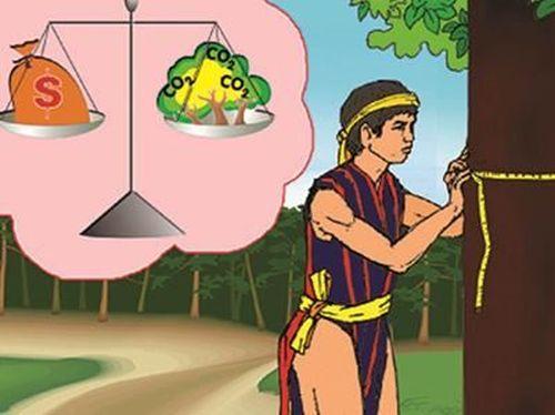 """Ảnh: người dân bản địa chỉ """"đo cây, đếm tiền""""? (Nguồn: UN-REDD ở Việt Nam)"""
