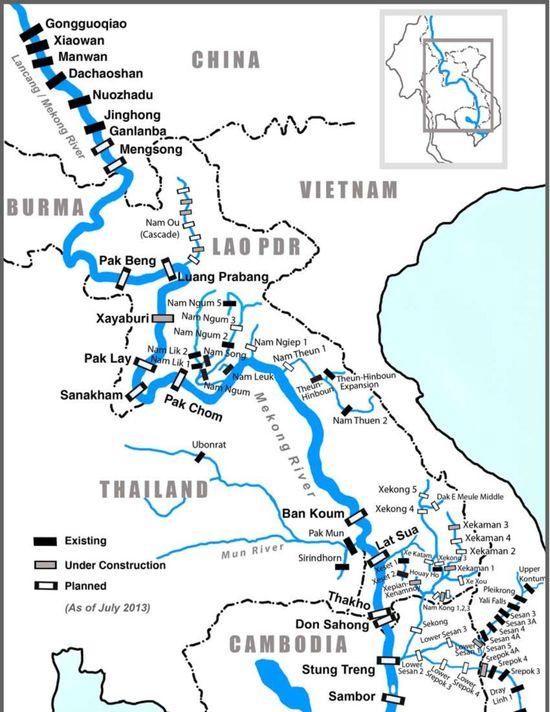 Bản đồ hệ thống đập thủy điện trên dòng chính Mê Kông (Nguồn: TERRA)