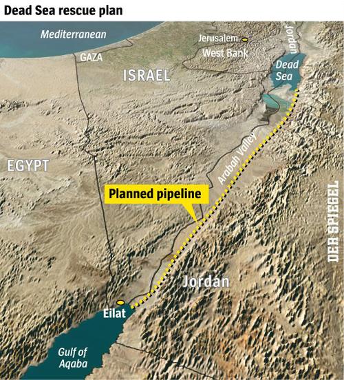 """Dự án tuyến đường ống 180 km nhằm """"cứu"""" Biển Chết.  Ảnh: Spiegel"""