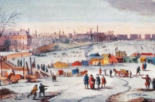 """Bức tranh """"Thames Frost Fair"""" (""""Hội chợ Frost trên sông Thames"""") 1683 - 1684, tác giả Thomas Wyke (Ảnh: discovery.com)"""