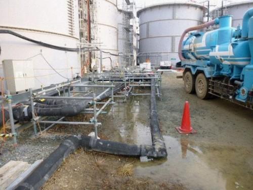 Hiện trường vụ rò rỉ nước nhiễm xạ ngày 20/2 tại nhà máy điện hạt nhân Fukushima Daiichi (Ảnh: Kyodo)