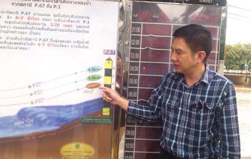 Một chuyên gia của Cục Thủy lợi Hoàng gia Thái Lan giới thiệu về thủy văn các con sông ở Chiang Mai (Ảnh: Dân Việt)