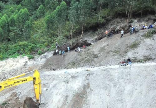 Người dân bất chấp tính mạng đào bới tìm kiếm gỗ huỳnh đàn. (Ảnh: Công an TP Đà Nẵng)