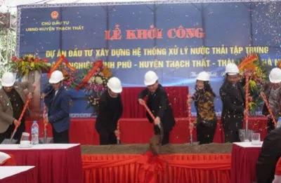 Lễ khởi công xây dựng hệ thống xử lý nước thải tập trung Cụm công nghiệp Bình Phú. (Ảnh: baodautu.vn)