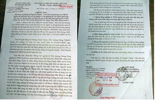 Thông báo số 212/TB-UBND ngày 28-8-2014 của ông Nguyễn Nhuần, Phó Chủ tịch UBND H. Bắc Trà My tại buổi làm việc với các ngành và địa phương nêu rõ: Có đầy đủ cơ sở pháp lý để xác nhận đây là đất sản xuất thuộc quyền sở hữu sử dụng của các hộ dân. (Ảnh: Công an TP Đà Nẵng)
