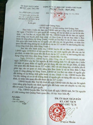 Nhưng đến ngày 10-10-2014, UBND H. Bắc Trà My lại ban hành Công văn số 1431/UBND-HĐBT trái ngược với Thông báo số 212/TB-UBND. (Ảnh: Công an TP Đà Nẵng)