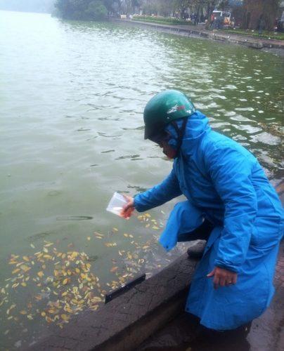 Nhiều người đã đựng cá vào hộp thay cho túi nilon. (Ảnh: Nguyễn Hưởng)