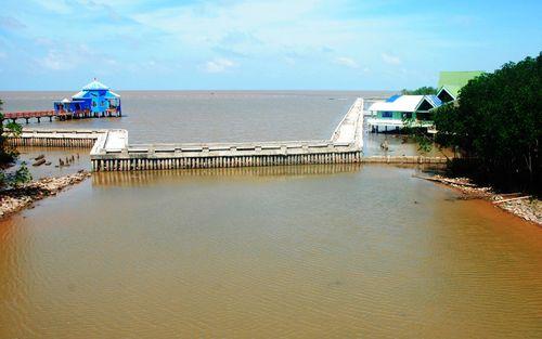 Công trình kè bảo vệ bờ biển tại xã Đất Mũi, huyện Ngọc Hiển, Cà Mau. (Ảnh: Báo Lao động)