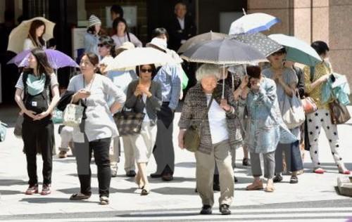 Nắng nóng tại Tokyo, Nhật Bản (Ảnh: Kyodo/TTXVN)