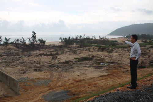 Khu vực rừng phi lao ven biển của xã Kỳ Nam bị đốn hạ chỉ còn thưa thớt ít cây nhỏ bên ngoài mép biển