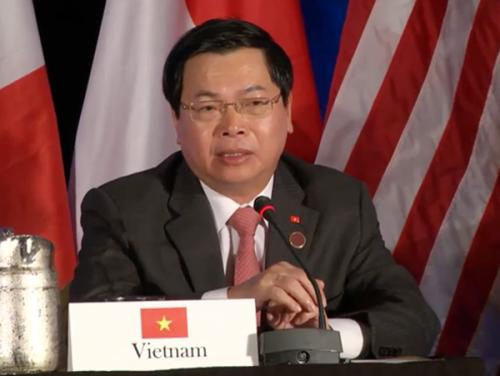 Bộ trưởng Bộ Công Thương Vũ Huy Hoàng, Trưởng đoàn đàm phán Việt Nam, tại cuộc đàm phán hoàn tất TPP tại Atlanta, Mỹ