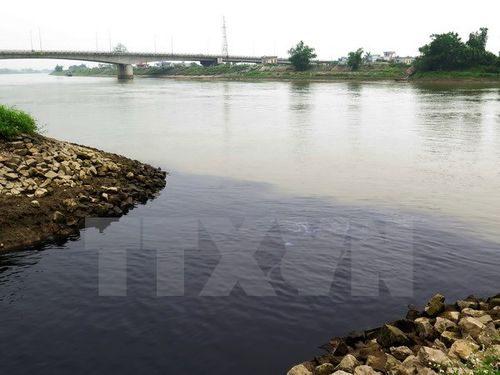 Nước xả thải từ nhà máy xử lý rác thải tập trung thành phố Thái Bình và khu công nghiệp làm ô nhiễm sông Trà Lý (Ảnh: Xuân Tiến/TTXVN)