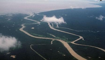 Ảnh minh họa: Một đoạn sông Mê Công nhìn từ trên cao