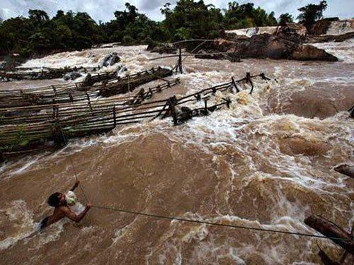Khu vực dự kiến xây dựng thủy điện Don Sahong, Lào (Ảnh: National Geographic)