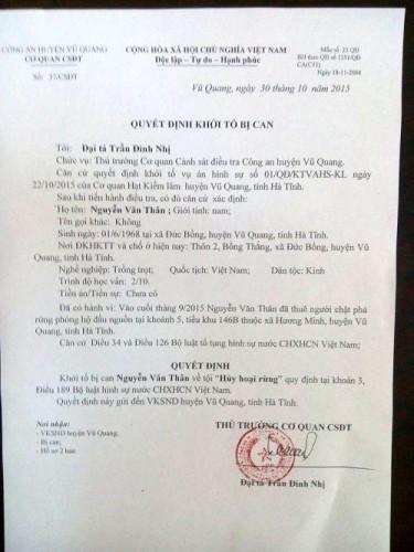 Quyết định khởi tố bị can trong vụ phá rừng phòng hộ Vũ Quang.