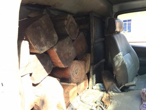 Gỗ lậu chất đầy trong chiếc xe 12 chỗ ngồi.