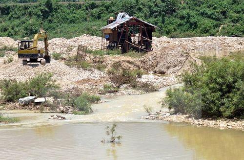 Các xe đào cát để lọc vàng gây ô nhiễm trên sông Tang tại xã Trà Thọ, Quảng Ngãi (Ảnh: Nguyễn Đăng Lâm/TTXVN)