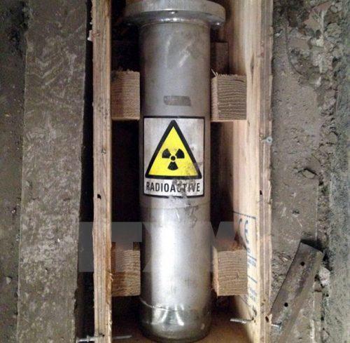 Hình ảnh cục phóng xạ bị mất tại Nhà máy thép Pomina 3 hồi năm 2015 (Ảnh: Đoàn Mạnh Dương/TTXVN)