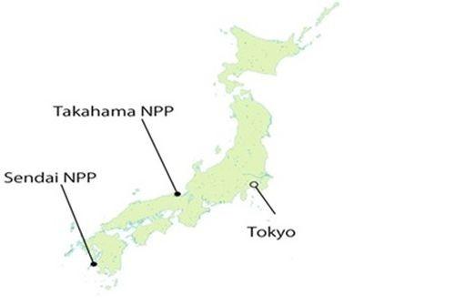 Vị trí các Nhà máy điện hạt nhân Sendai và Takahama trên bản đồ nước Nhật (Ảnh: Cnic)