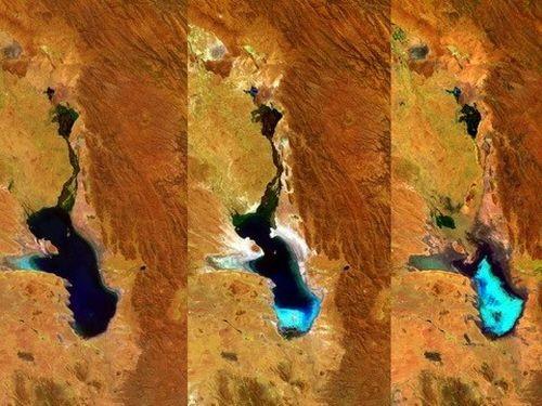 Hồ Poopó cạn dần qua các bức ảnh vệ tinh chụp các thời điểm kế tiếp nhau.