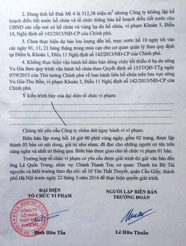Biên bản vi phạm hành chính đối với Công ty Cổ phần Thủy điện Đăk Mi.