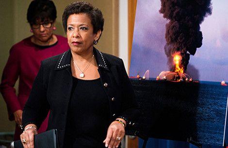 Bộ trưởng Tư pháp Mỹ Loretta E. Lynch tuyên bố mức phạt và bồi thường lên đến 20 tỉ USD đối với Tập đoàn BP (Ảnh:Shawn Thew/Epa)