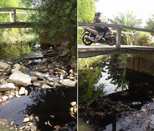 Nước rỉ từ bãi rác Khánh Sơn theo những mương nhỏ qua cầu Đa Cô dẫn tới kênh Phú Lộc rồi xả thẳng ra biển.