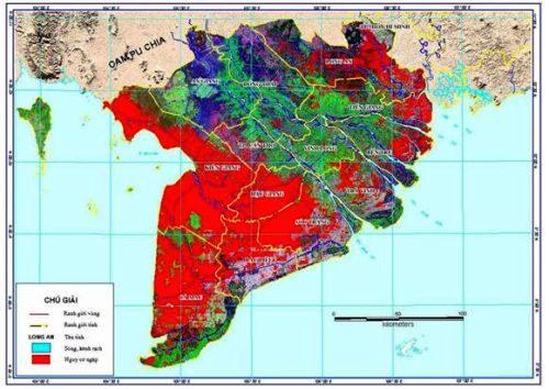 Bản đồ nguy cơ ngập khu vực đồng bằng sông Cửu Long ứng với mực nước biển dâng 1m (Nguồn: Bộ TN&MT, Kịch bản biến đổi khí hậu, nước biển dâng cho Việt Nam, 2012)