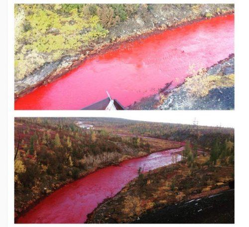 Hình ảnh cho thấy nước sông Daldykan đổi màu đỏ bất thường. (Nguồn: Instagram)