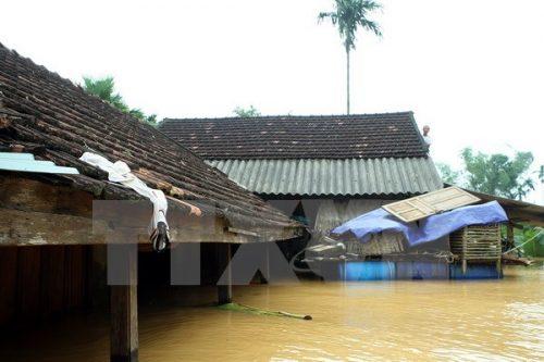 Nhiều hộ dân ở xóm 6 xã Phương Điền, huyện Hương Khê bị ngập sâu do mưa lũ. (Ảnh: Tuấn Anh/TTXVN)