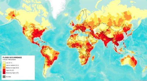 Bản đồ nguy cơ ngập lụt thế giới. (Nguồn:World Resouce Institute (WRI) năm 2012)