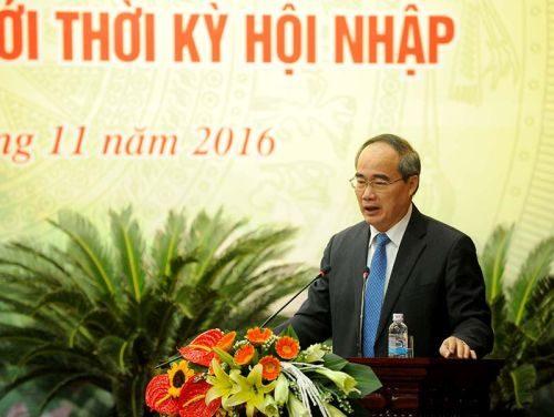 Chủ tịch Ủy ban Trung ương MTTQ Việt Nam Nguyễn Thiện Nhân phát biểu tại Hội thảo (Ảnh: Hoàng Anh/chinhphu.vn)