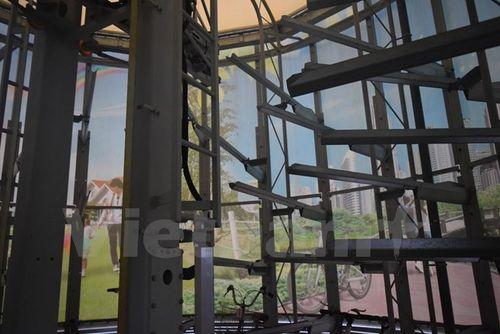 Kết cấu giá đỡ bên trong của Eco Cycles. (Ảnh: Nguyễn Tuyến/Vietnam+)
