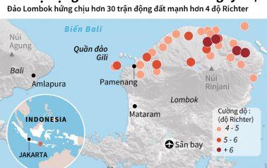 Các vụ động đất ở Indonesia kể từ cuối tháng Bảy