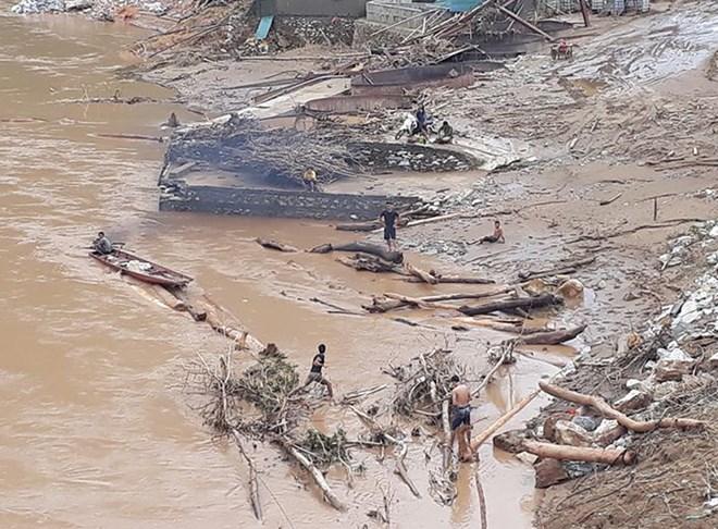 Người dân liều mình vớt củi giữa dòng nước lũ ở Thanh Hóa