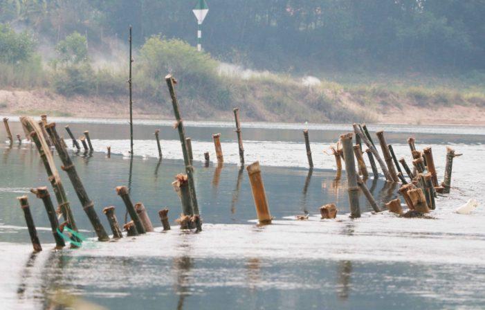 """Cận cảnh """"trận địa"""" cọc tre chống nạn khai thác cát trái phép trên sông Bồ"""