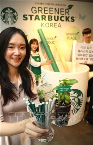 """Starbucks nói """"không"""" với rác nhựa"""