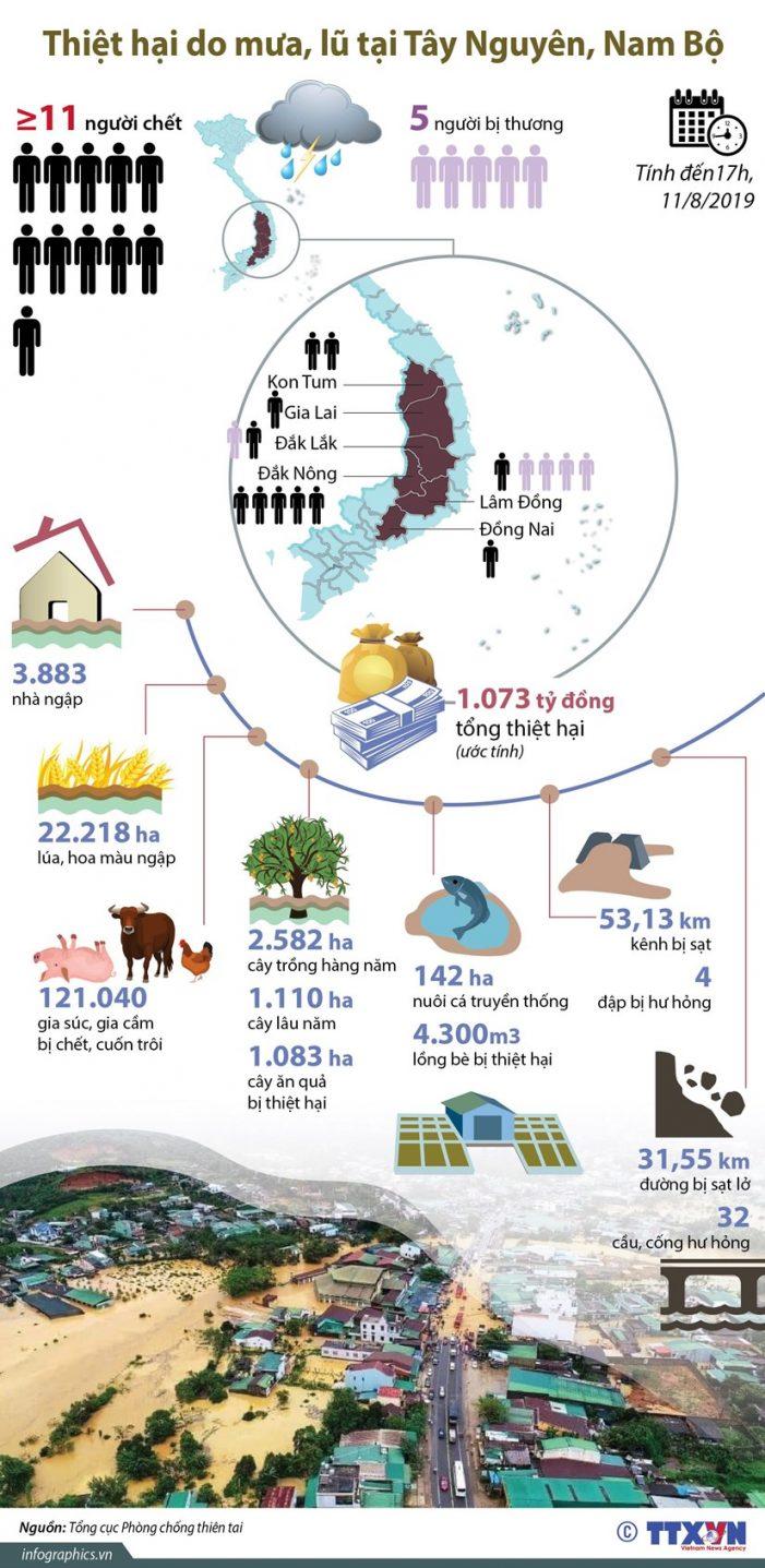 Thiệt hại do mưa, lũ tại Tây Nguyên và Nam Bộ